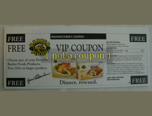 COUPON for any FREE BARBER FOODS PRODUCT