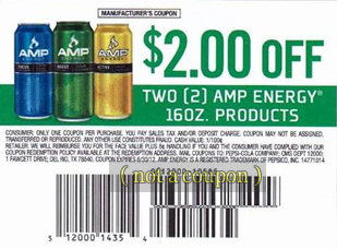 Coupon for $2 Off AMP Energy Drink